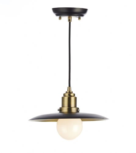 Hannover 1 Light Pendant Black/Antique Brass (Class 2 Double Insulated) BXHAN0154-17
